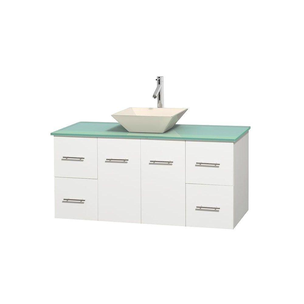 Vanity White Glass Vanity Top Green Bone Porcelain Sink Vanities