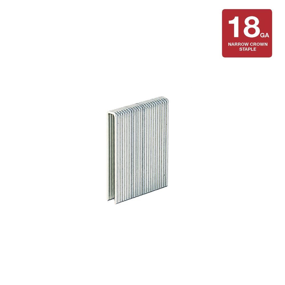 1/2 in. x 1/4 in. 18-Gauge Galvanized Narrow Staples (5,000-Pack)