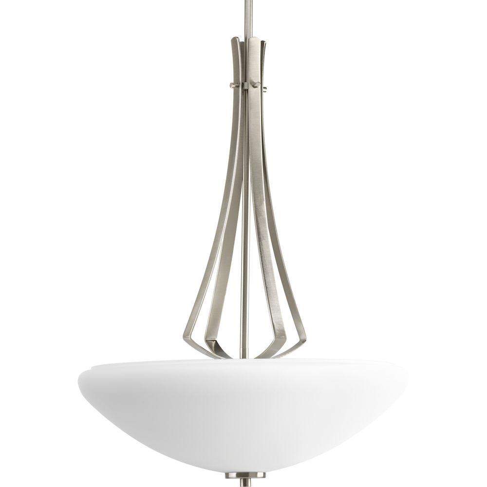Progress Lighting Rave Collection 3-Light Brushed Nickel Foyer Pendant with Opal Etched Glass