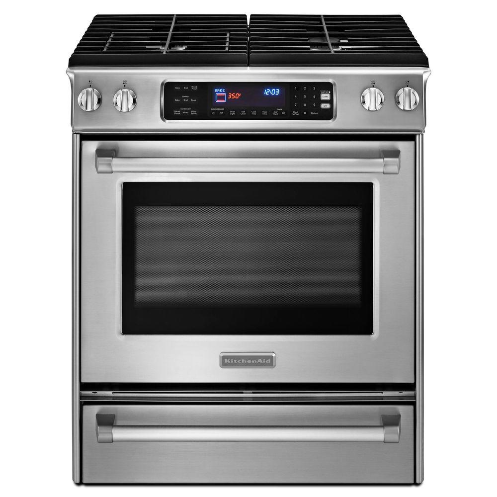 KitchenAid Pro Line Series 4.1 cu. ft. Slide-In Gas Range with Self-Cleaning Convection Oven in Stainless Steel