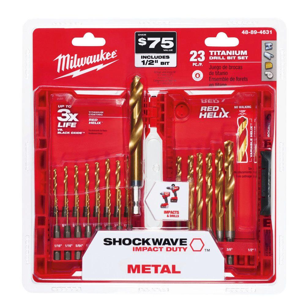 Milwaukee titanium shockwave drill bit kit 23 piece 48 89 4631 milwaukee titanium shockwave drill bit kit 23 piece greentooth