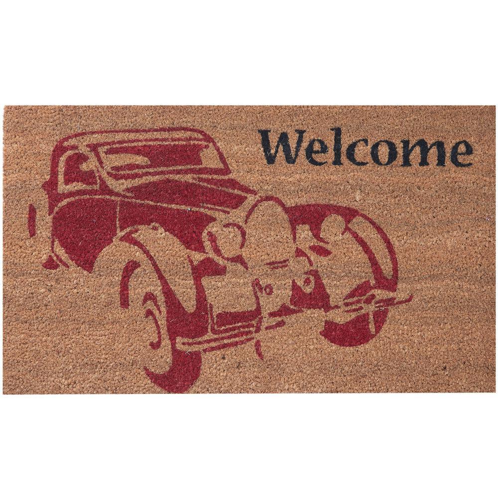 Vintage Car 30 in. x 18 in. Coir Door Mat