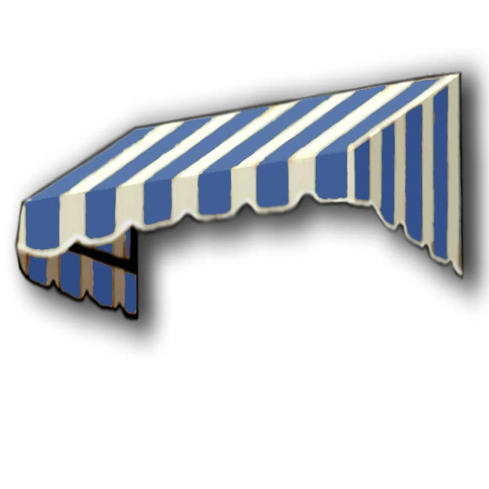 AWNTECH 4 ft. San Francisco Window/Entry Awning Awning (18 in. H x 36 in. D) in Bright Blue / White Stripe