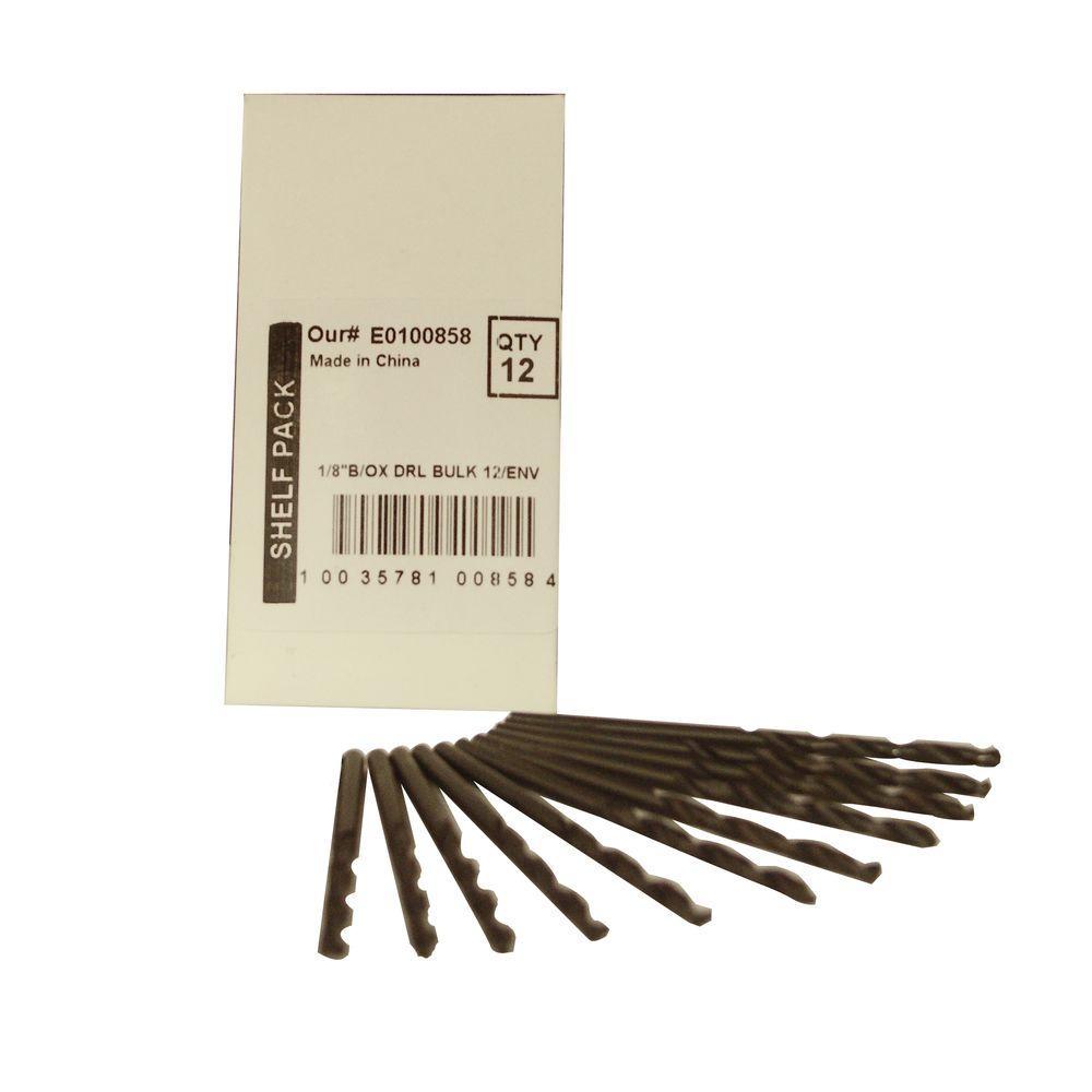 BLU-MOL 1/8 in. Diameter Black Oxide Jobber Length Drill Bit (12-Pack)