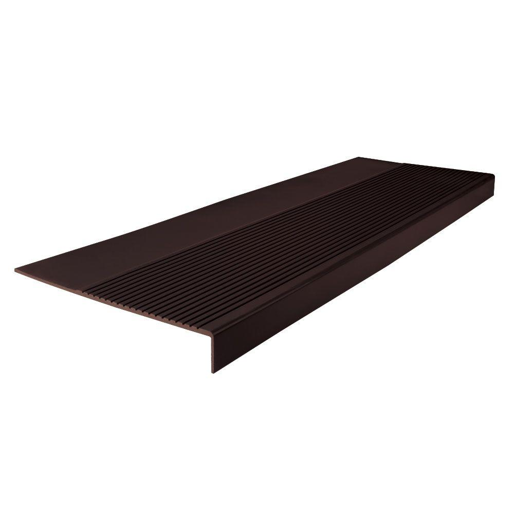 Ribbed Profile Brown 12-1/4 in. x 36 in. Rubber Square Nose