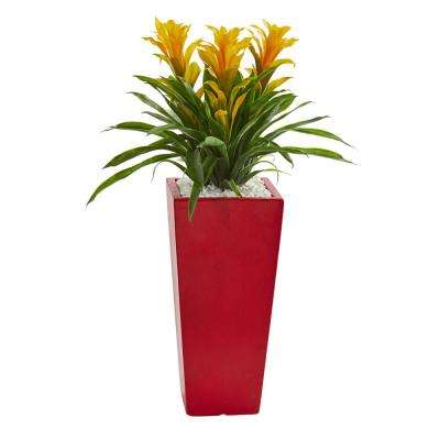 Triple Yellow Bromeliad Artificial Plant in Red Planter