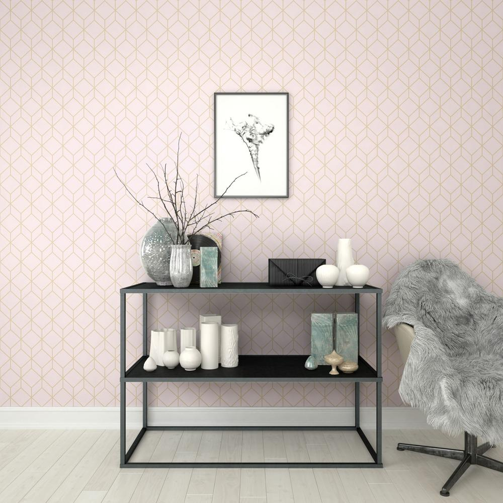 Graham Brown Myrtle Geo Pink And Rose Gold Removable Wallpaper