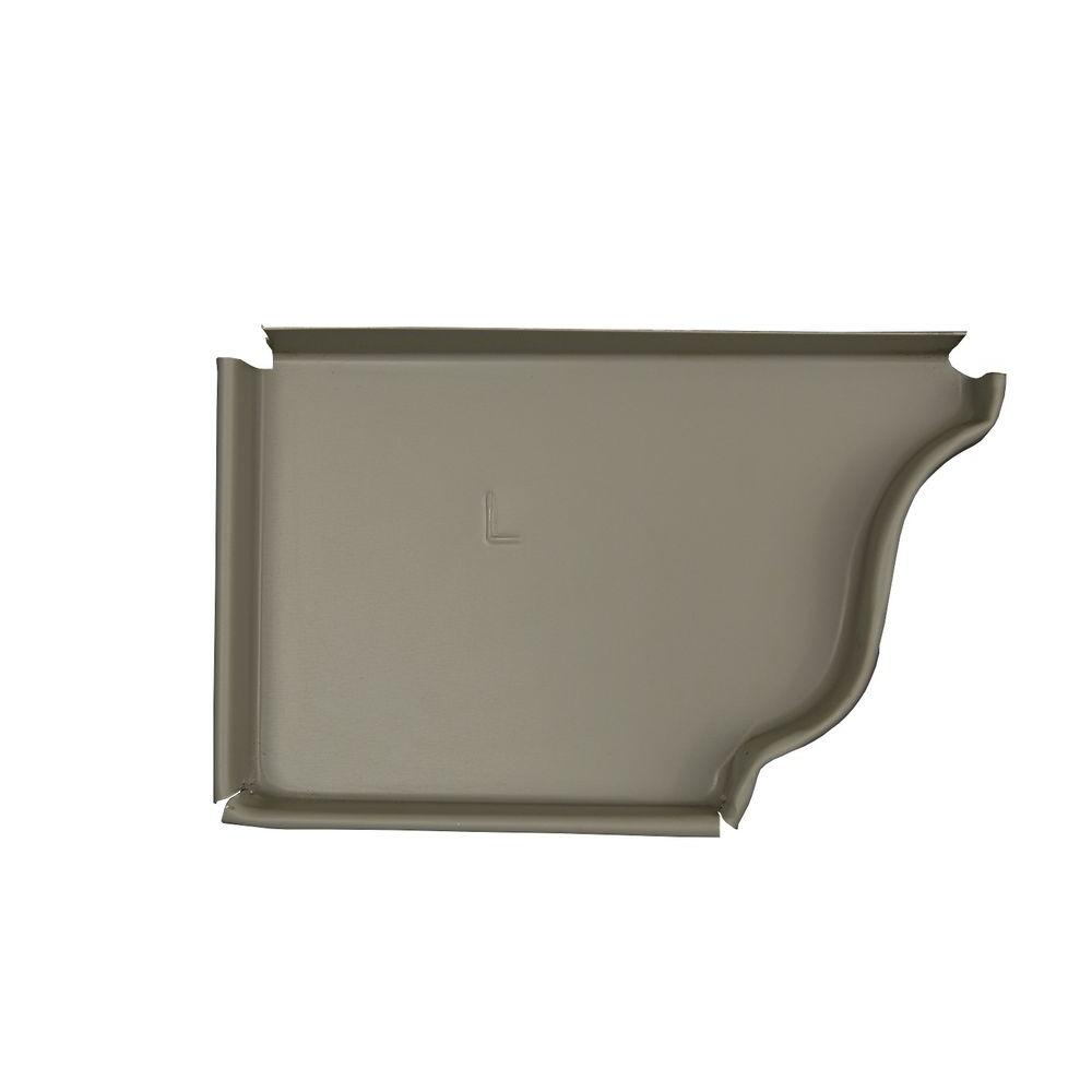 Amerimax Home Products 5 in. Pearl Gray Aluminum Left End Cap