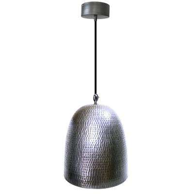 1-Light Brushed Steel Pendant with Silver Shade