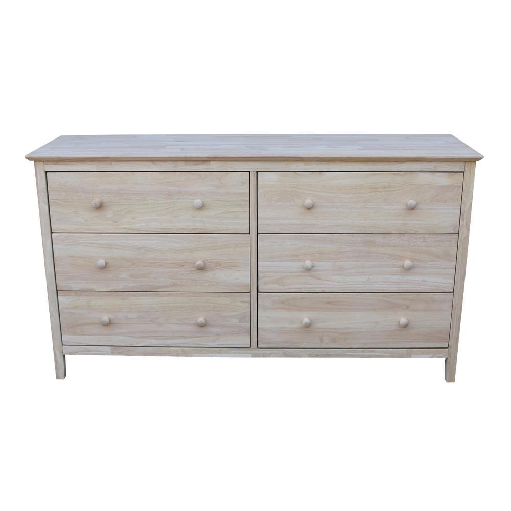 International Concepts Brooklyn 6 Drawer Unfinished Wood Dresser