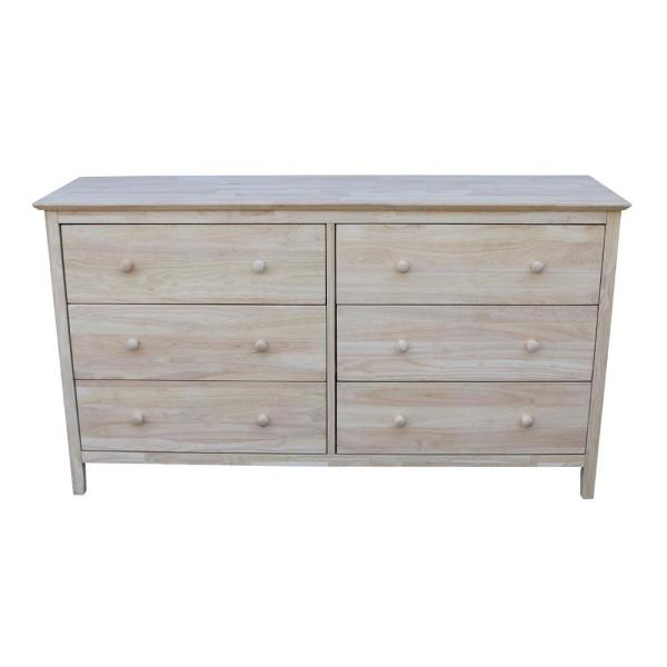 International Concepts Brooklyn 6-Drawer Unfinished Wood Dresser