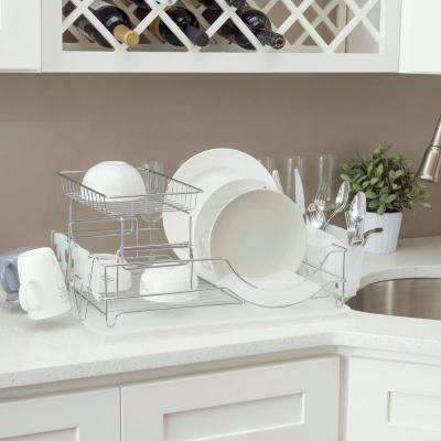 Deluxe Dish Drainer in White