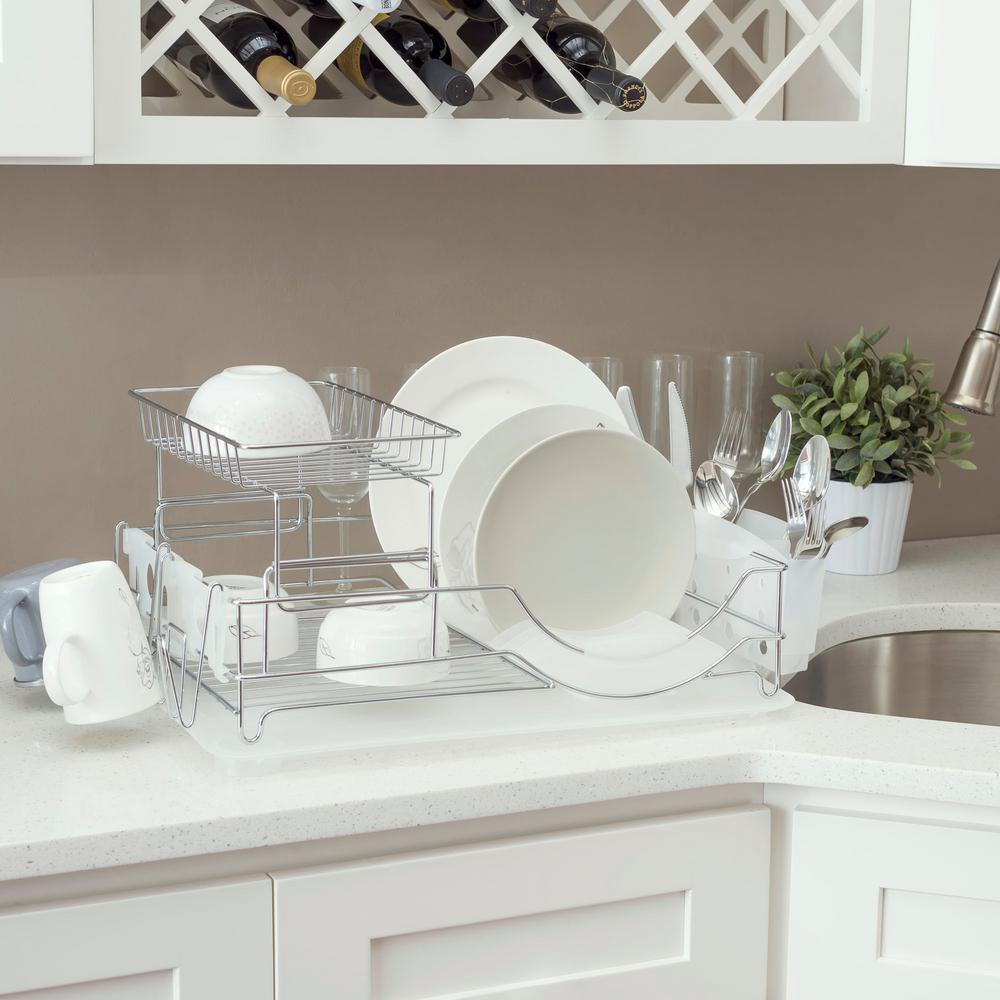 Deluxe 2-Tier White Standing Dish Rack