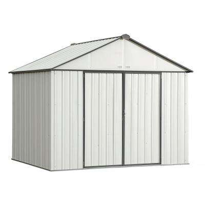 10 ft. W x 8 ft. H x 8 ft. D EZEE Galvanized Steel High Gable Shed in Cream/Charcoal Trim with Snap-IT Quick Assembly
