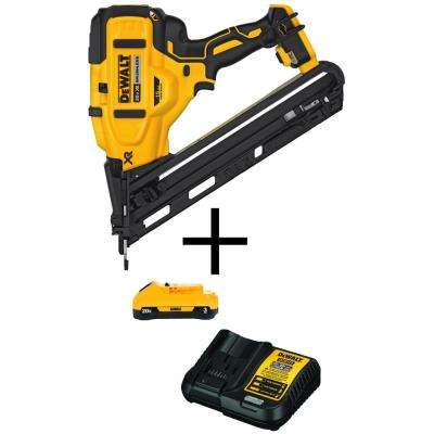 20-Volt MAX XR 15-Gauge Lithium-Ion Cordless Angled Finish Nailer (Tool-Only) with Bonus 3 Ah Battery Pack and Charger