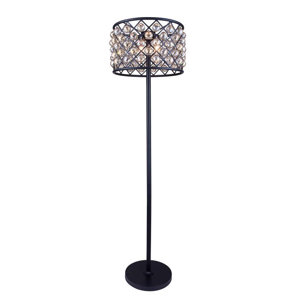 Madison 72 in. Mocha Brown Floor Lamp with Golden Teak Smoky Crystal