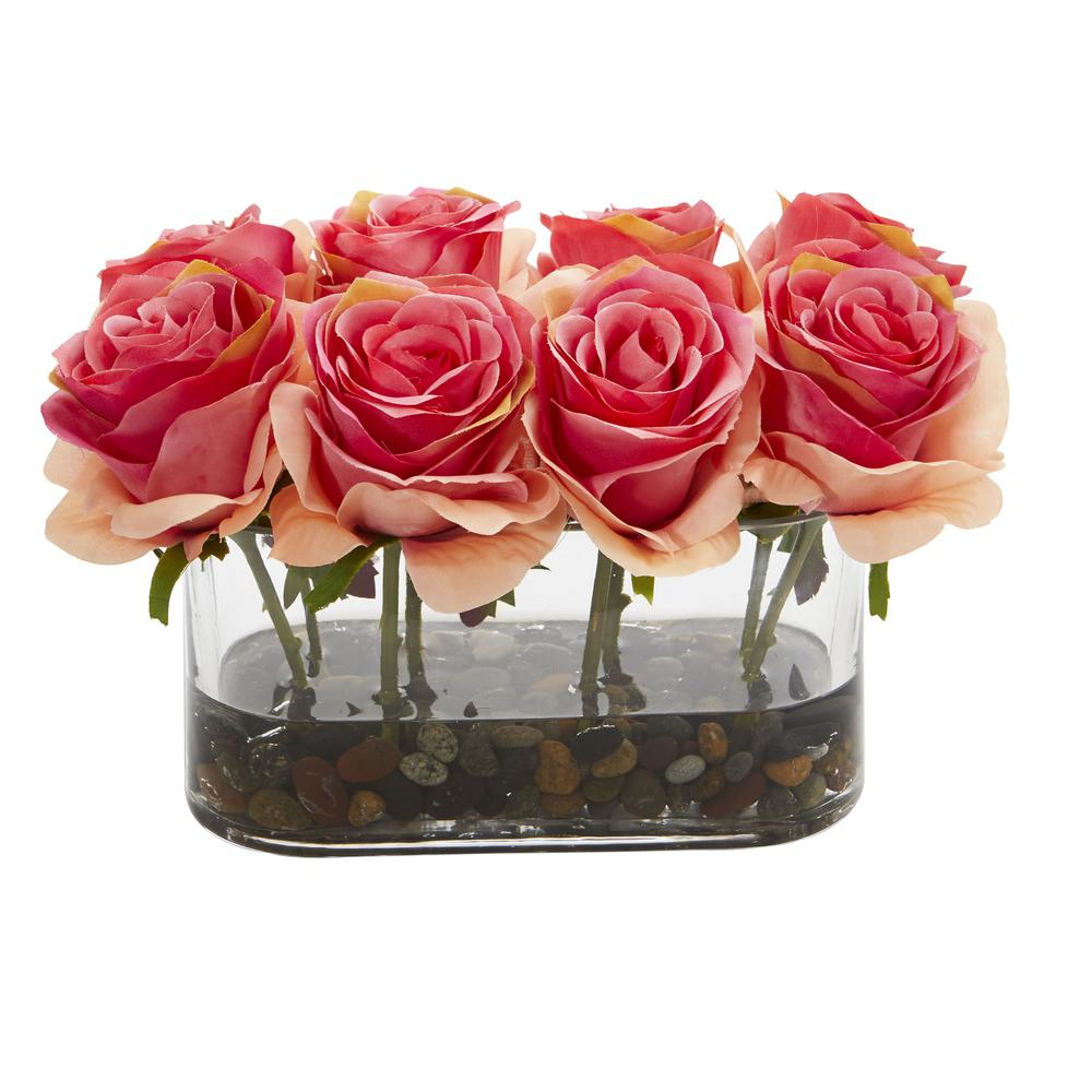 Nearly Natural 5 5 In High Dark Pink Roses Blooming Roses In Glass Vase Artificial Arrangement 1520 Dp The Home Depot
