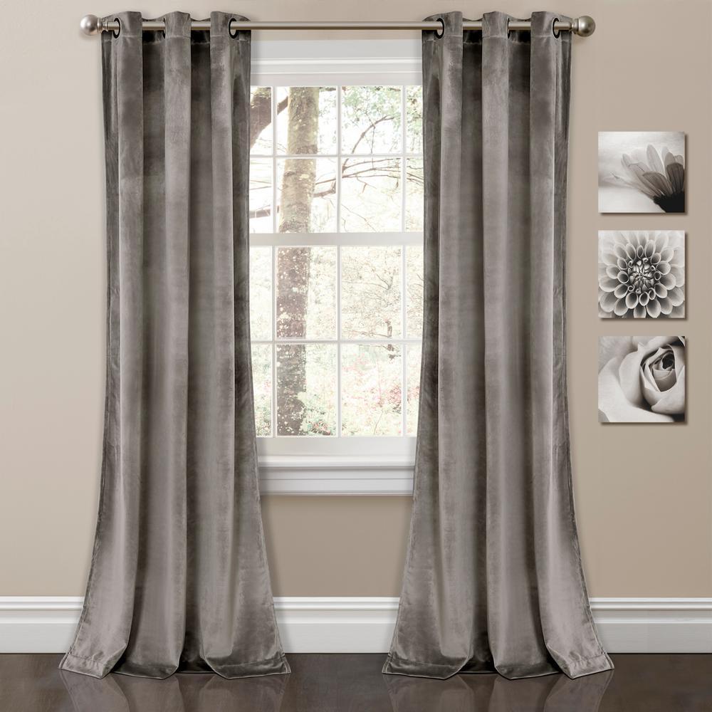 "Prima Velvet Solid Window Panels Gray 84"" x 38"" 2-Pc Set 100% Polyester"