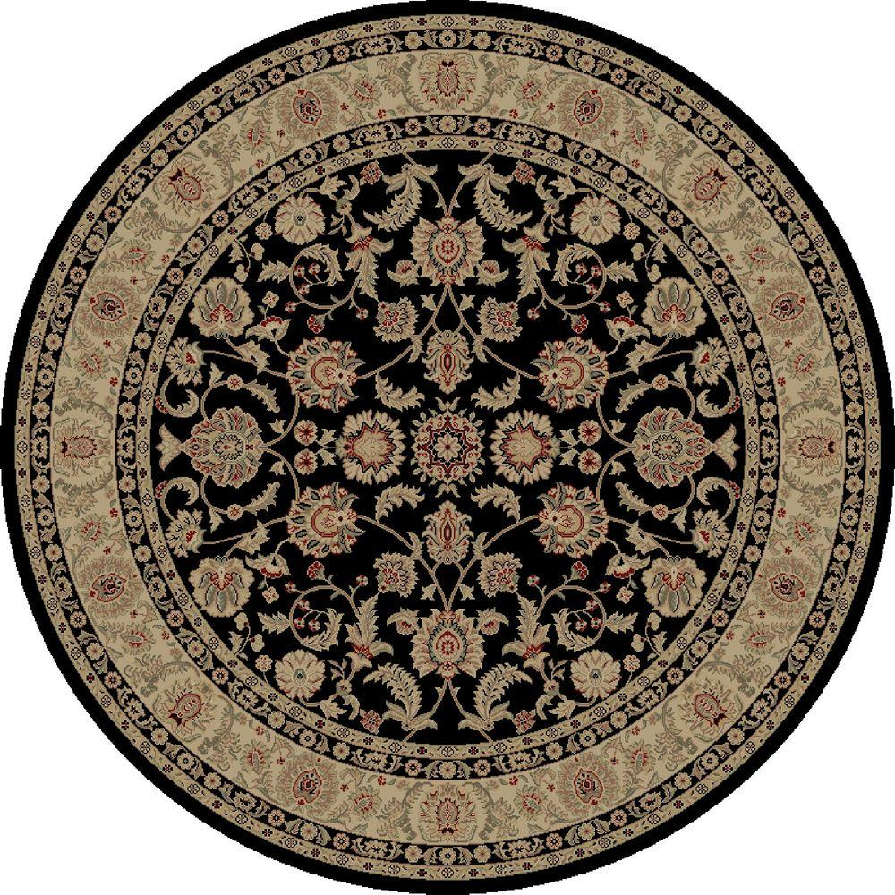 Imperial Bergama Black 5 ft. 3 in. Round Area Rug
