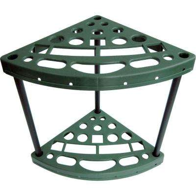 15.75 in. W x 21.89 in. H x 23.55 in. D 18-Tier Plastic Yard Tool Corner Storage Rack in Green
