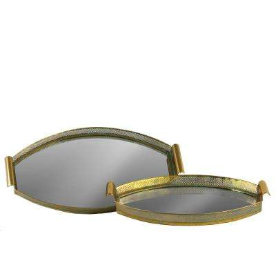 Oval Gold Electroplated Tray with Pierced Metal Frame, Mirror