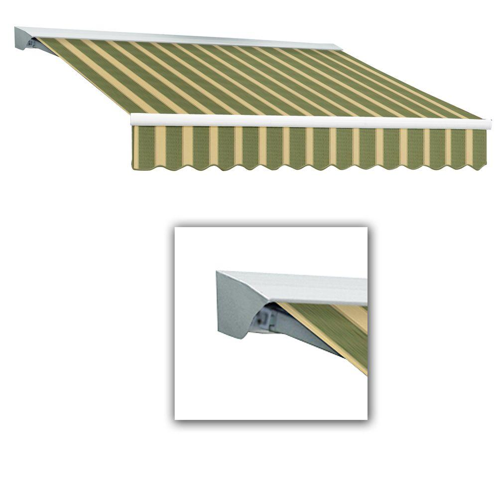 AWNTECH LX-Destin with Hood Right Motor with Remote Retractable Awning Acrylic (12 ft. W x 10 ft. D) in Olive or Alpine/Tan