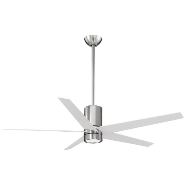 Symbio 56 in. Integrated LED Indoor Brushed Nickel with White Ceiling Fan with Light and Remote Control