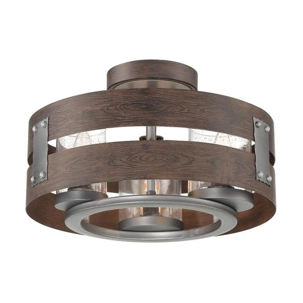 3-Light Expresso Clear Glass Semi-Flush Mount and Pendant