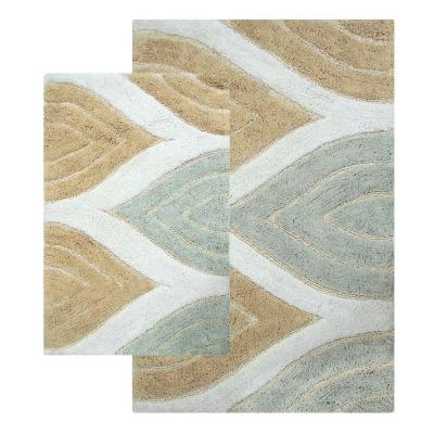 Davenport 21 in. x 34 in. and 24 in. x 40 in. 2-Piece Bath Rug Set in Spa