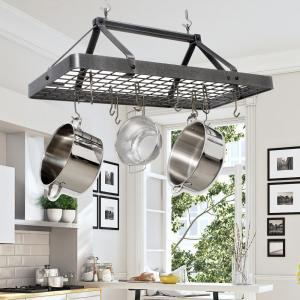 Enclume Hammered Steel Hanging Carnival Rectangle Ceiling Pot Rack by Enclume