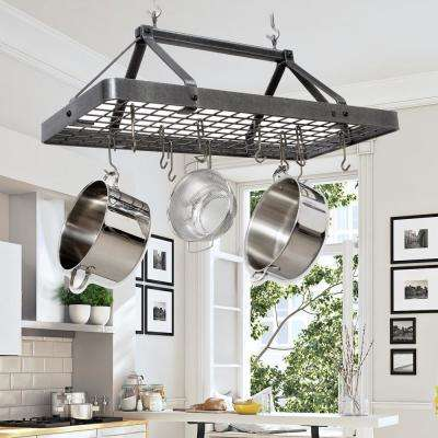 Hammered Steel Hanging Carnival Rectangle Ceiling Pot Rack