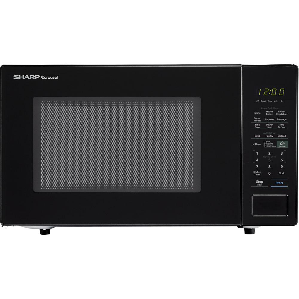 Sharp Carousel 1 4 Cu Ft Countertop Microwave In Black With Sensor Cooking Technology