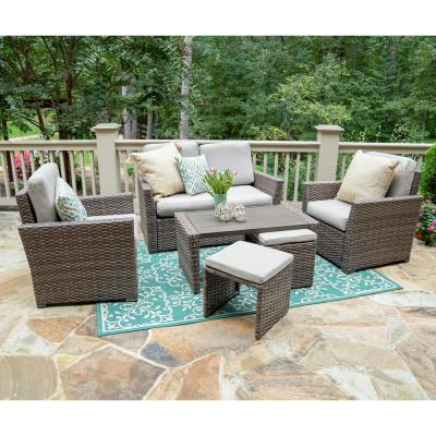 Newton 6-Piece Wicker Seating Set with Tan Cushions