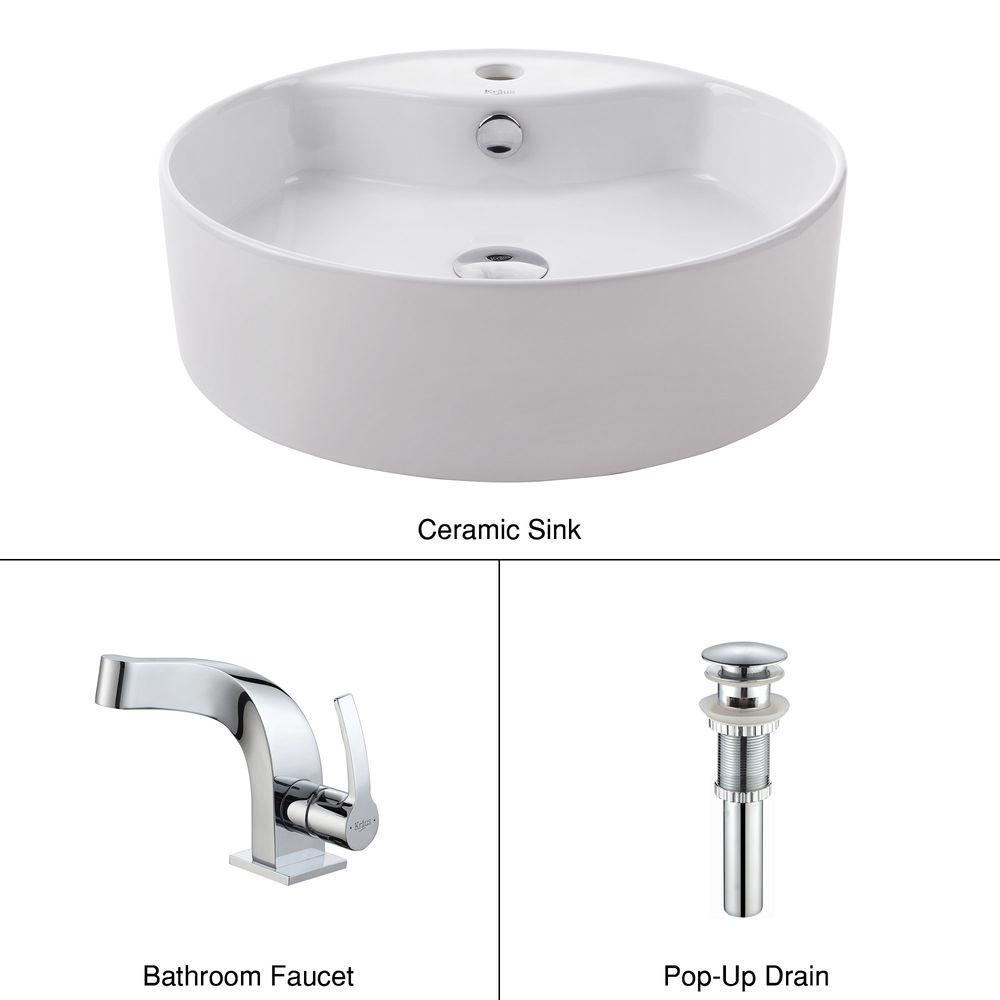KRAUS Round Ceramic Vessel Sink in White with Typhon Faucet in Chrome