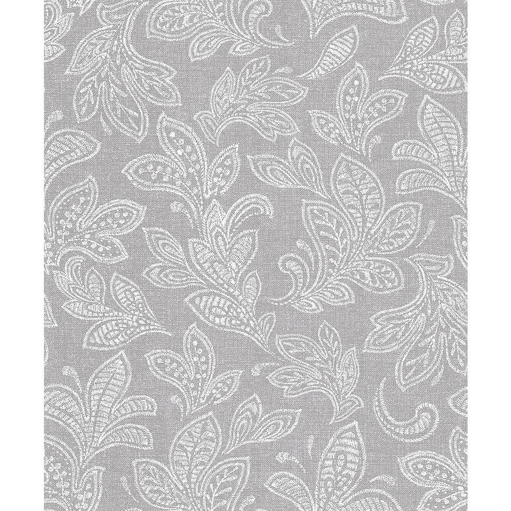 56.4 sq. ft. Ida Grey Scroll Wallpaper