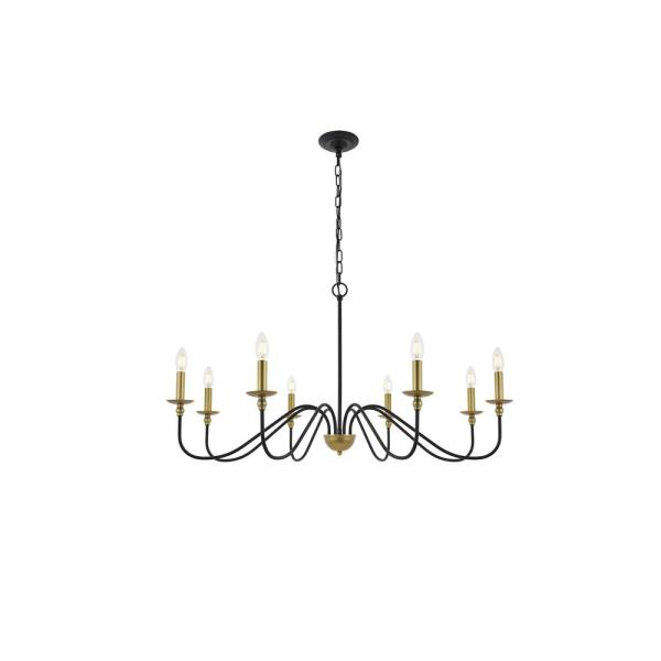 Timeless Home Roman 42 in. W x 21.8 in. H 8-Light Matte Black and Brass Pendant