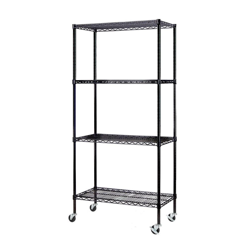 Excel 77 in. H x 36 in. W x 18 in. D 4-Tier Wire Shelving Unit with ...