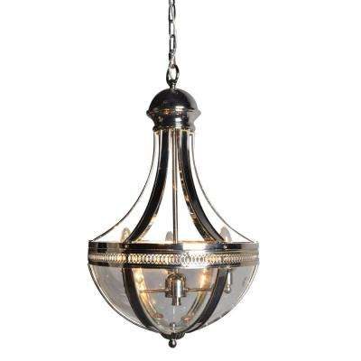 3-Light Nickel Chandelier with Clear Glass Shade