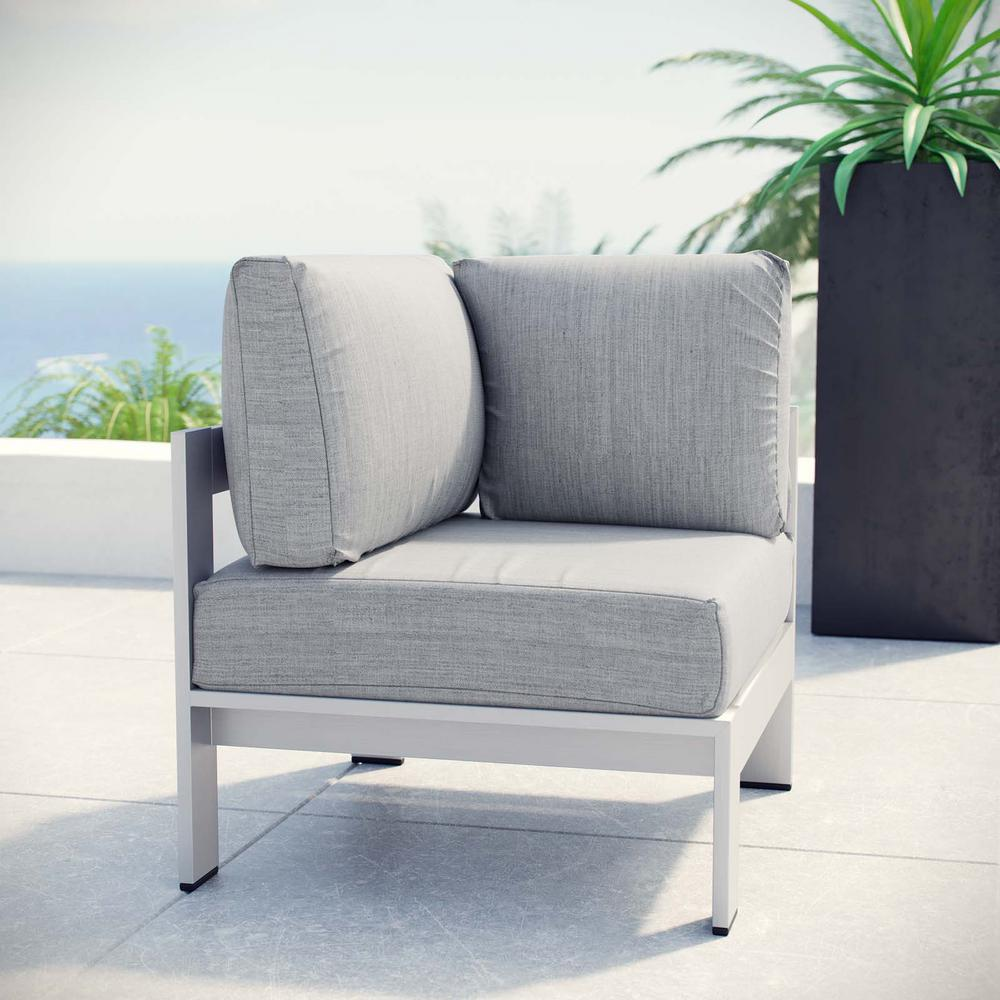MODWAY Shore Patio Aluminum Corner Outdoor Sectional Chair in Silver with Gray Cushions