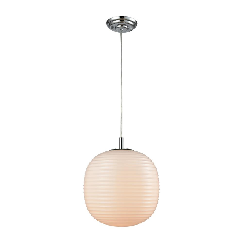 Titan Lighting Beehive 1-Light Polished Chrome With Opal