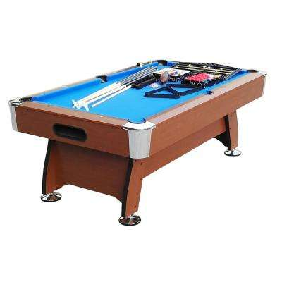 8 ft. x 4.25 ft. Brown and Blue Deluxe Billiard Pool and Snooker Game Table