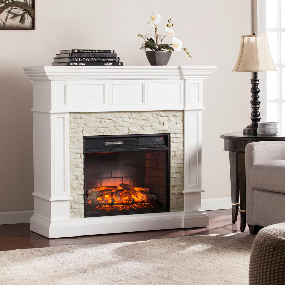Amesbury 45.5 in. W Corner Convertible Infrared Electric Fireplace in White