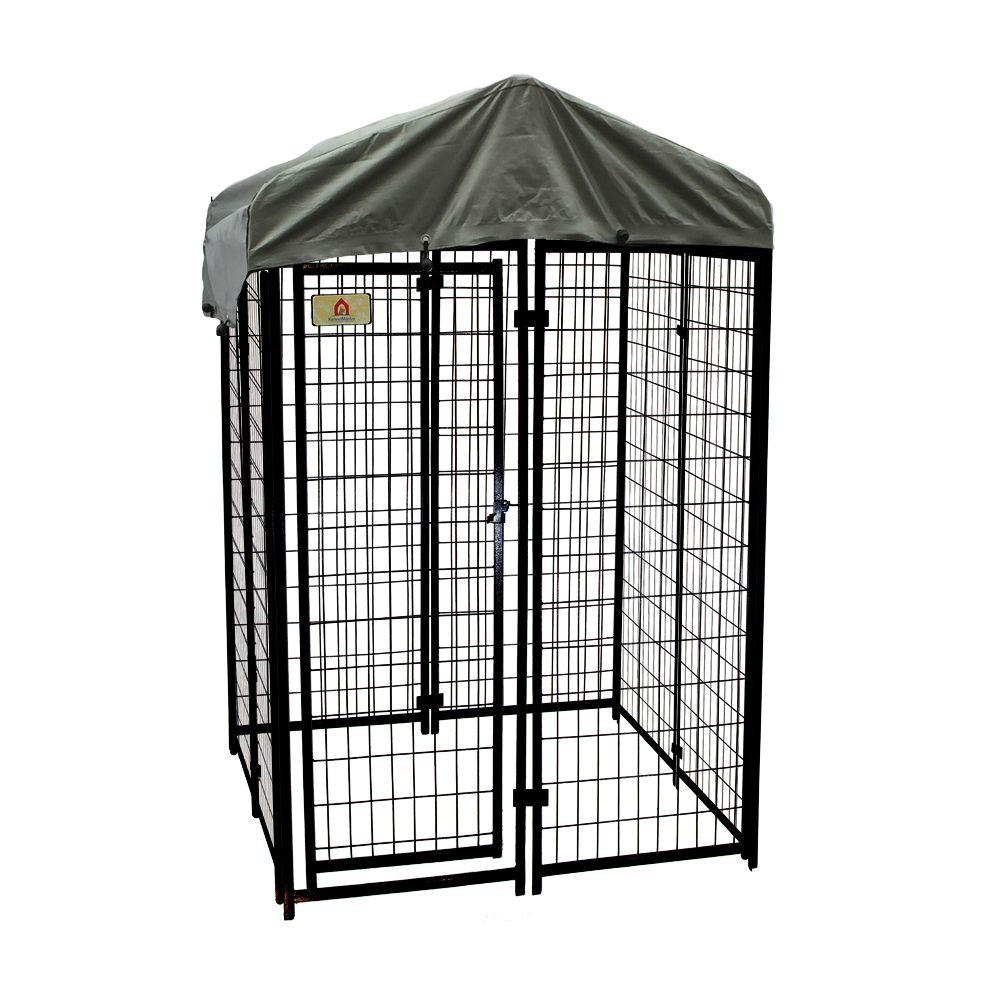 Kennelmaster 4 Ft X 6 Welded Wire Dog Fence Kennel Kit K644wwbl C The Home Depot