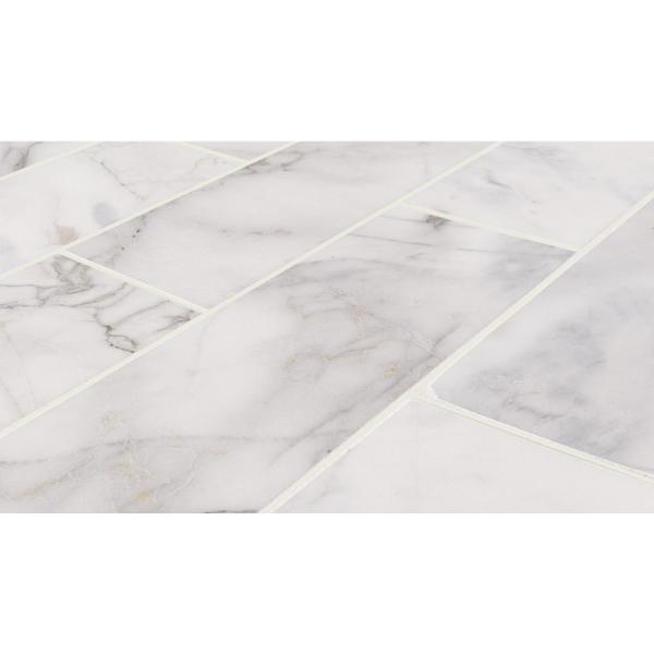 Msi Calacatta Cressa 4 In X 12 In Honed Marble Floor And Wall Tile 5 Sq Ft Case Tcalcre412h The Home Depot