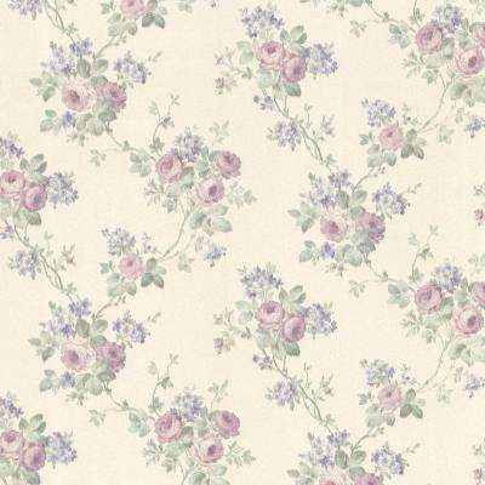 Kristin Lavender Rose Trail Wallpaper Sample