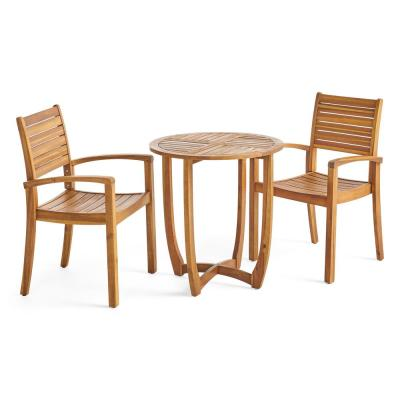 Wood Bistro Sets Patio Dining Furniture The Home Depot