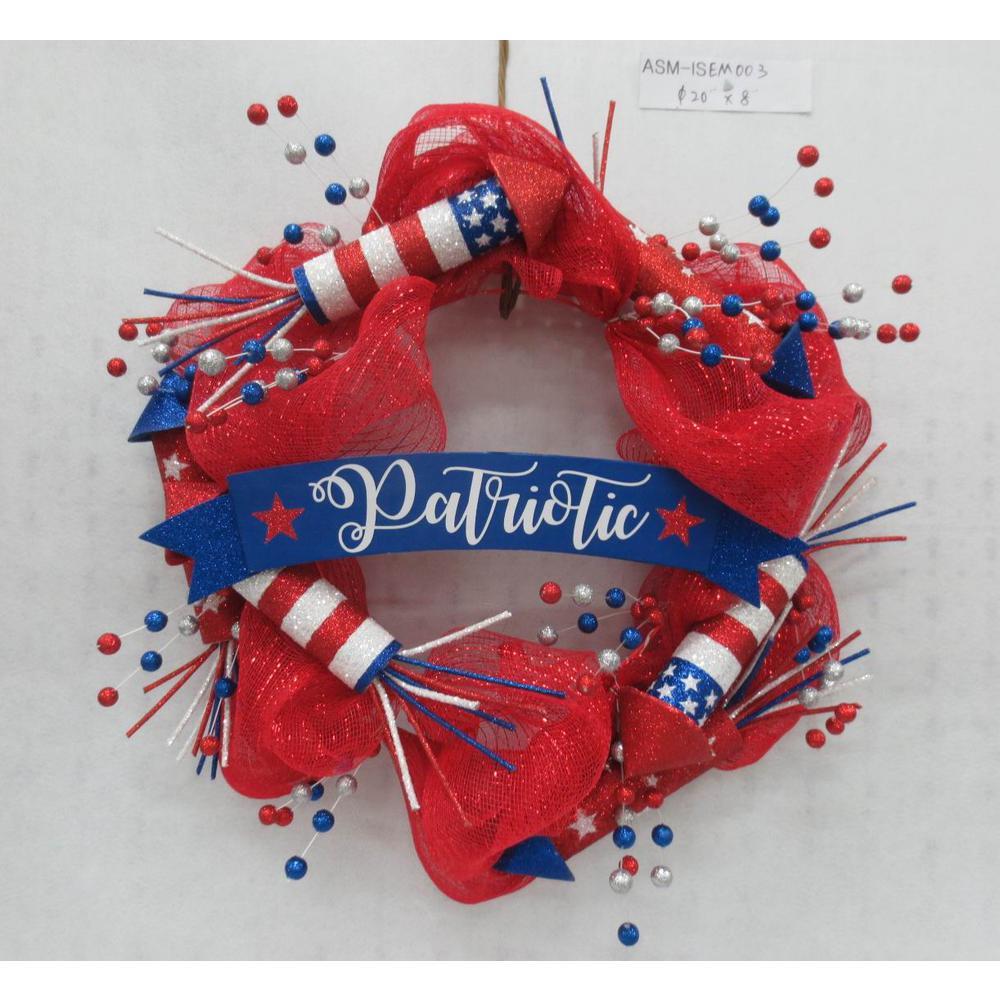 24 in. Patriotic Wreath Fireworks