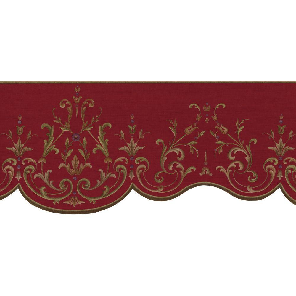 The Wallpaper Company 8 in. x 10 in. Purple Mandarin Robe Border Sample