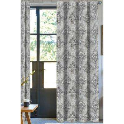 Desa Printed Designer Organic Cotton Drapery in Grey - 50 in. x 96 in.