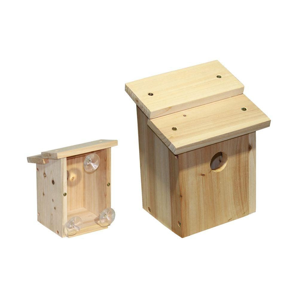 Lohasrus Wood Bird House with 3 Suction Cups 1-1/8 in. Opening-DISCONTINUED